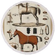 A Chromolithograph Of Horses With Antique Horseback Riding Equipments   1890  Round Beach Towel