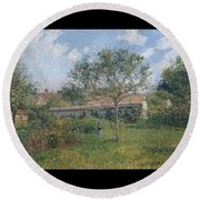A Corner Of The Meadow At Eragny, 1902 Round Beach Towel