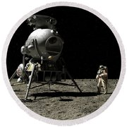 A Cosmonaut On The Moon Round Beach Towel