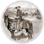 A Cowboy On Horseback, Photo, 19th Century Round Beach Towel