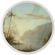 A Creek In St. Thomas Virgin Islands, 1856 Round Beach Towel