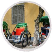 A Cyclo Driver Takes A Nap, In Hoi An, Vietnam. Round Beach Towel