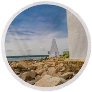 A Different View Goat Island  Round Beach Towel