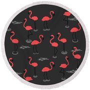 A Flamboyance Of Flamingos  Round Beach Towel