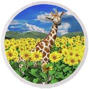 A Friendly Giraffe Hello Round Beach Towel