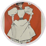 A Gaiety Girl, 1894 French Vintage Poster Round Beach Towel