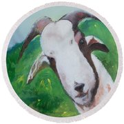 A Goat To Love Round Beach Towel
