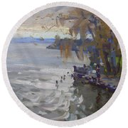 A Gray Fall Day At Fishermans Park Round Beach Towel