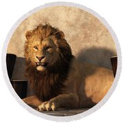 A Lion Among Drums Round Beach Towel