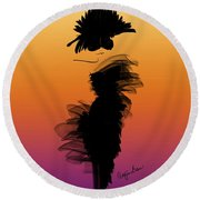 A Little Black Dress In The Sunset Round Beach Towel