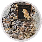 A New Home Barn Owl Round Beach Towel by Alan M Hunt