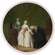 A Nobleman Kissing A Lady S Hand  Round Beach Towel