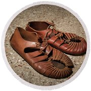 A Pair Of Roman Sandals Made Of Leather Round Beach Towel