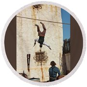 A Pair Of Stuntmen Perform At Old Tucson Round Beach Towel