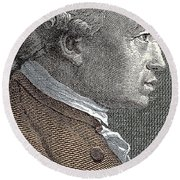 A Portrait Of Immanuel Or Emmanuel Kant Round Beach Towel