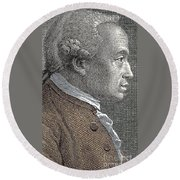 A Portrait Of Immanuel Or Emmanuel Kant Round Beach Towel