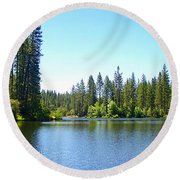 A Quiet Place - Bass Lake Round Beach Towel