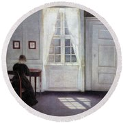 A Room In The Artist's Home In Strandgade, Copenhagen, With The Artist's Wife - Digital Remastered Round Beach Towel