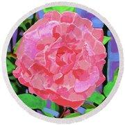 A Rose With Heart Round Beach Towel by Deborah Boyd