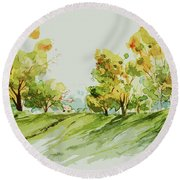 A Simple Landscape Round Beach Towel