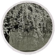 A Single Cherry Tree In Bloom Round Beach Towel