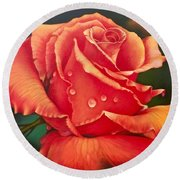 A Single Rose Round Beach Towel