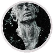 A Stone Bust In The Forest Round Beach Towel