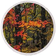 A Time In The Woods Round Beach Towel