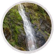 A Touch Of Light On Bridal Veil Falls Round Beach Towel