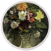 A Vase Of Flowers, 1833 Round Beach Towel