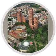 A View Of Downtown Bogota Round Beach Towel