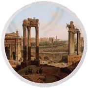 A View Of The Forum Romanum Round Beach Towel