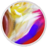 A White Rose In An Abstract Style. Round Beach Towel