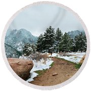 A Winter's Day In The Flatirons Round Beach Towel