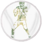 Aaron Rodgers Green Bay Packers Water Color Pixel Art 10 Round Beach Towel
