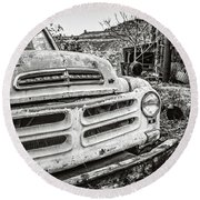 Abandoned Ghost Town Studebaker Truck Round Beach Towel