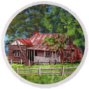 Abandoned Old Farm House Round Beach Towel