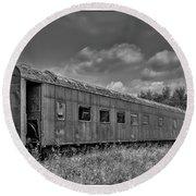 Abandoned Railroad Car In Rural New Brunswick Round Beach Towel