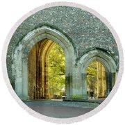 Abbey Gateway St Albans Hertfordshire Round Beach Towel