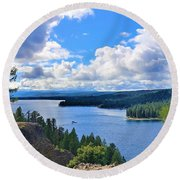 Above The Waters Round Beach Towel