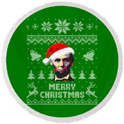Abraham Lincoln Merry Christmas Round Beach Towel
