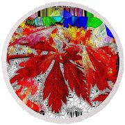 Abstract Fall Acer Stained Glass  Round Beach Towel