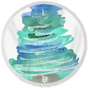 Abstract Fir Tree Christmas Watercolor Painting Round Beach Towel
