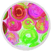 Abstract Flower Crowd Round Beach Towel