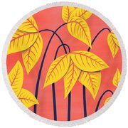 Abstract Flowers Geometric Art In Vibrant Coral And Yellow  Round Beach Towel