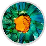 Abstract Gerbera Ink Flower Round Beach Towel