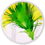 Abstract Ink Yellow Flower Round Beach Towel