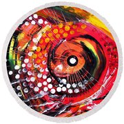 Abstract Lion Fish Round Beach Towel