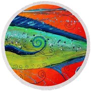 Abstract Mahi Mahi Round Beach Towel