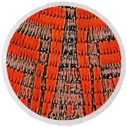 Abstract Oranges Blacks Browns Yellows Rows Columns Angles 3152019 5476 Round Beach Towel